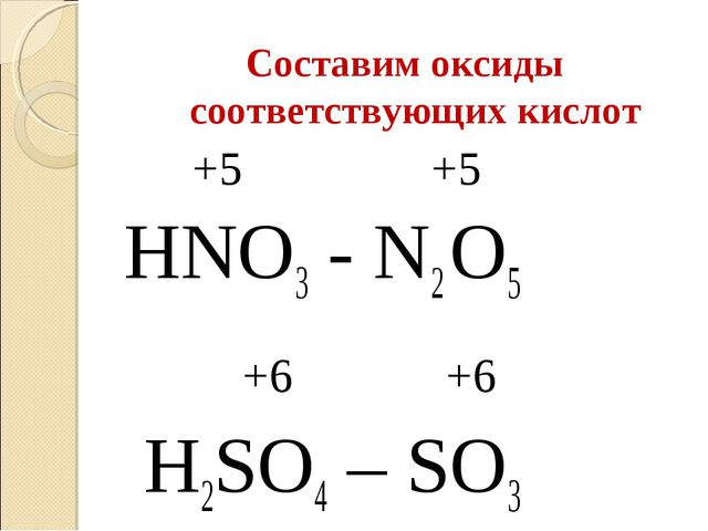 Составим оксиды соответствующих кислот +5 +5 HNO3 - N2 O5 +6 +6 H2SO4 – SO3