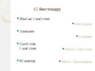 Сәйкестендіру Шығыс Қазақстан Алексеев Солтүстік Қазақстан Көкшетау Шағалалы