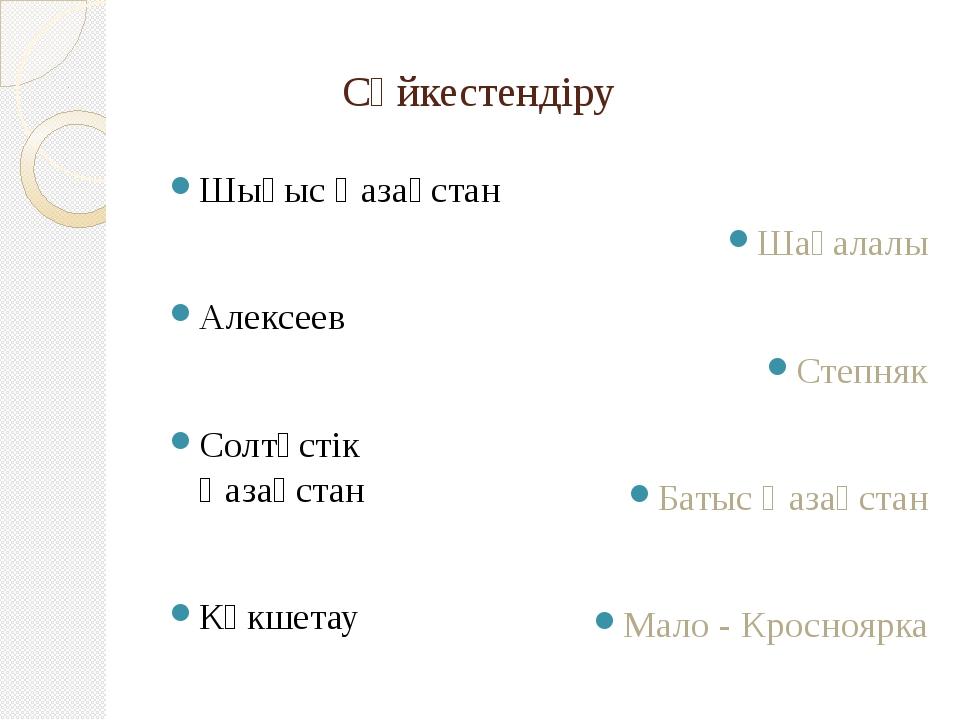 Сәйкестендіру Шығыс Қазақстан Алексеев Солтүстік Қазақстан Көкшетау Шағалалы...