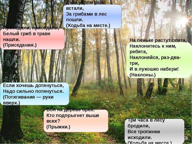 Дети утром рано встали, За грибами в лес пошли. (Ходьба на месте.) Приседали,...