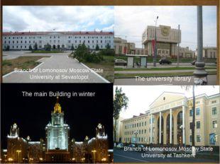 The main Building in winter The university library Branch of Lomonosov Mosco
