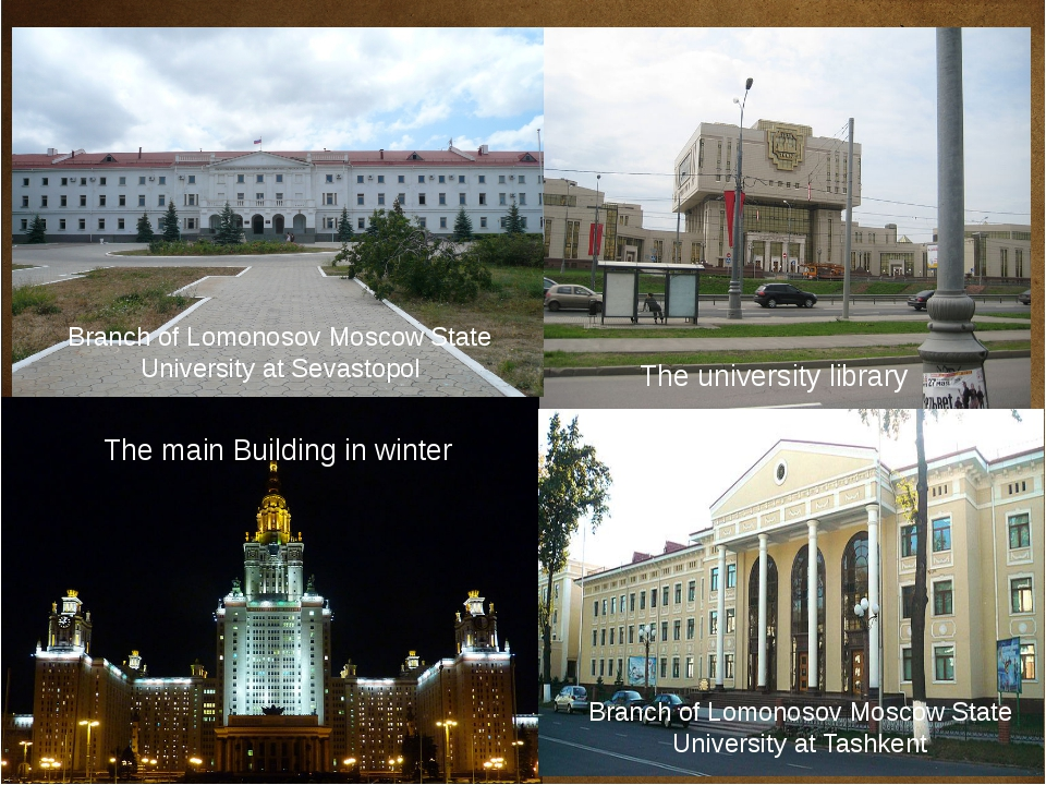 The main Building in winter The university library Branch of Lomonosov Mosco...