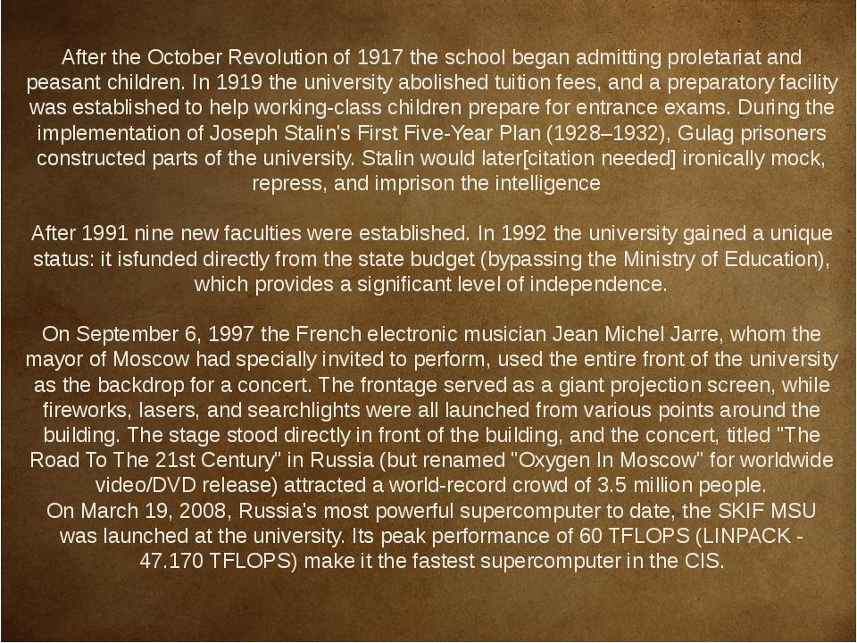 After the October Revolution of 1917 the school began admitting proletariat...