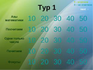 Тур 1 0 - ответили 0 – не ответили next → Азы математики1020304050 Посчи