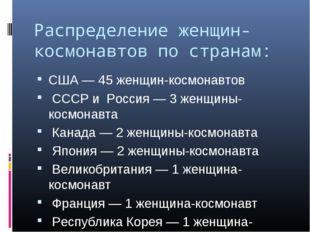 Распределение женщин-космонавтов по странам: США — 45 женщин-космонавтов СССР