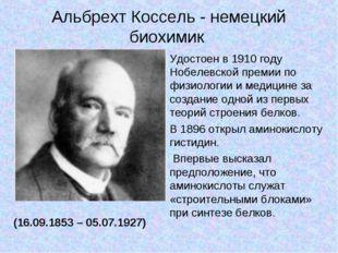 Альбрехт Коссель - немецкий биохимик (16.09.1853 – 05.07.1927) Удостоен в 191