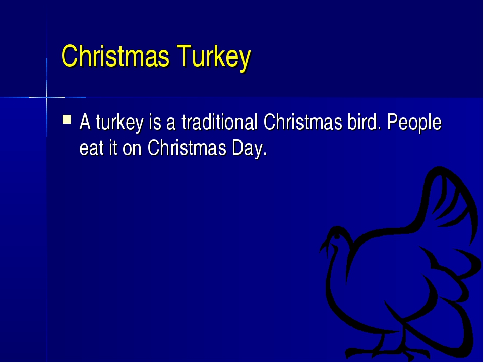 Christmas Turkey A turkey is a traditional Christmas bird. People eat it on C...