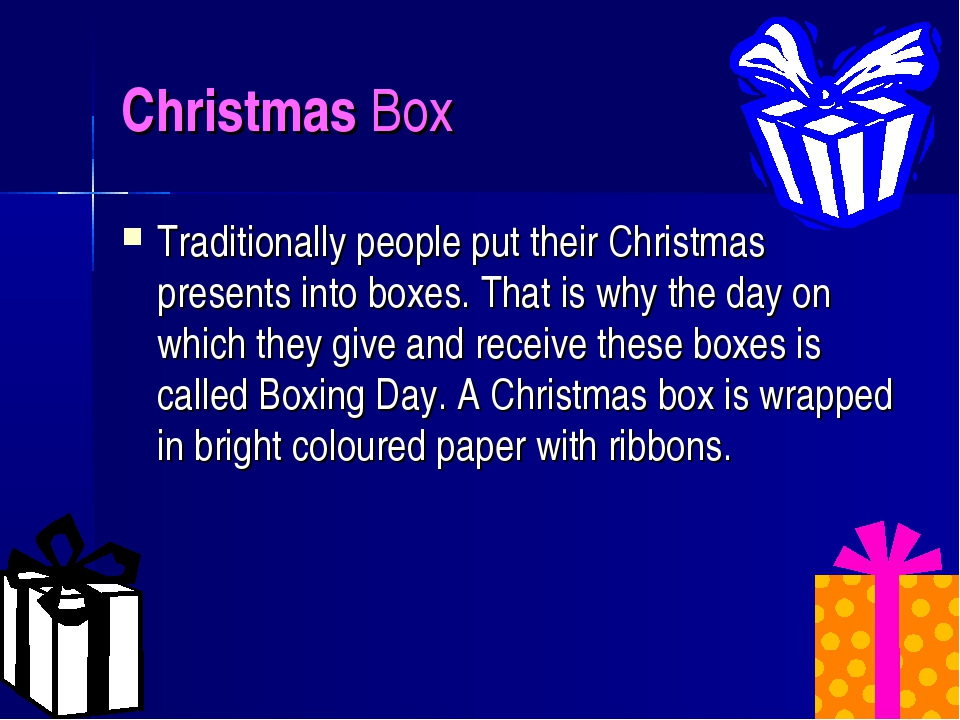 Christmas Box Traditionally people put their Christmas presents into boxes. T...