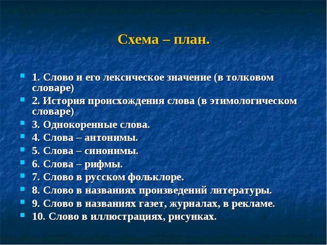 Схема – план. 1. Слово и его лексическое значение (в толковом словаре) 2. Ист...