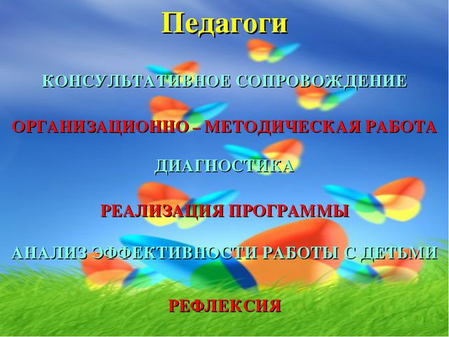 Педагоги РЕАЛИЗАЦИЯ ПРОГРАММЫ ОРГАНИЗАЦИОННО – МЕТОДИЧЕСКАЯ РАБОТА КОНСУЛЬТАТ...