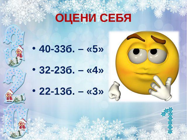 ОЦЕНИ СЕБЯ 40-33б. – «5» 32-23б. – «4» 22-13б. – «3»