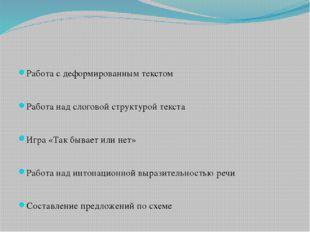 Работа с деформированным текстом Работа над слоговой структурой текста Игра