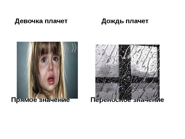 Девочка плачет Дождь плачет Прямое значение Переносное значение
