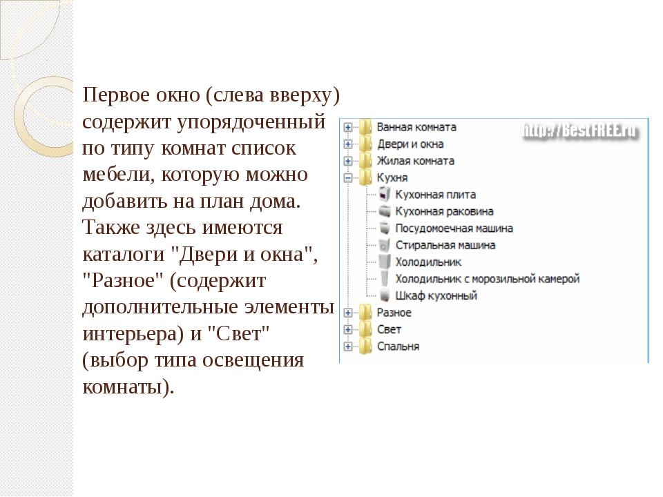 Первое окно (слева вверху) содержит упорядоченный по типу комнат список мебел...