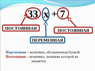 33 х + 7 ПОСТОЯННАЯ ПОСТОЯННАЯ ПЕРЕМЕННАЯ Переменная – величина, обозначенная