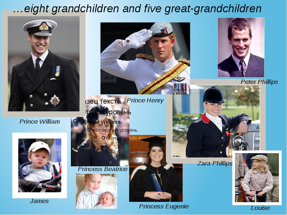 Prince William Prince Henry  Zara Phillips …eight grandchildren and five grea...