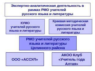 Экспертно-аналитическая деятельность в рамках РМО учителей русского языка и л