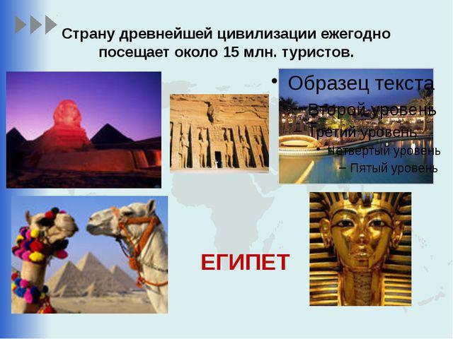 Страну древнейшей цивилизации ежегодно посещает около 15 млн. туристов. ЕГИПЕТ