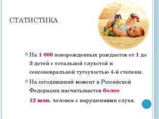 СТАТИСТИКА На 1000 новорожденных рождается от 1 до 3 детей с тотальной глухо