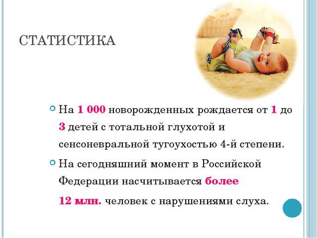 СТАТИСТИКА На 1000 новорожденных рождается от 1 до 3 детей с тотальной глухо...