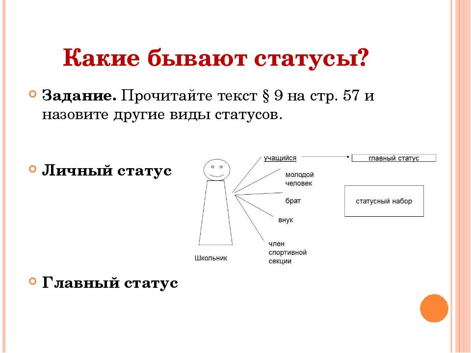 Какие бывают статусы? Задание. Прочитайте текст § 9 на стр. 57 и назовите дру...