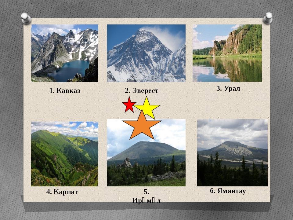 1. Кавказ 2. Эверест 3. Урал 4. Карпат 5. Ирәмәл 6. Ямантау