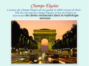 Champs-Élysées L'avenue des Champs-Élysées est une grande et célèbre avenue d