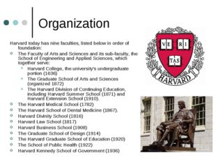 Organization Harvard today has nine faculties, listed below in order of found