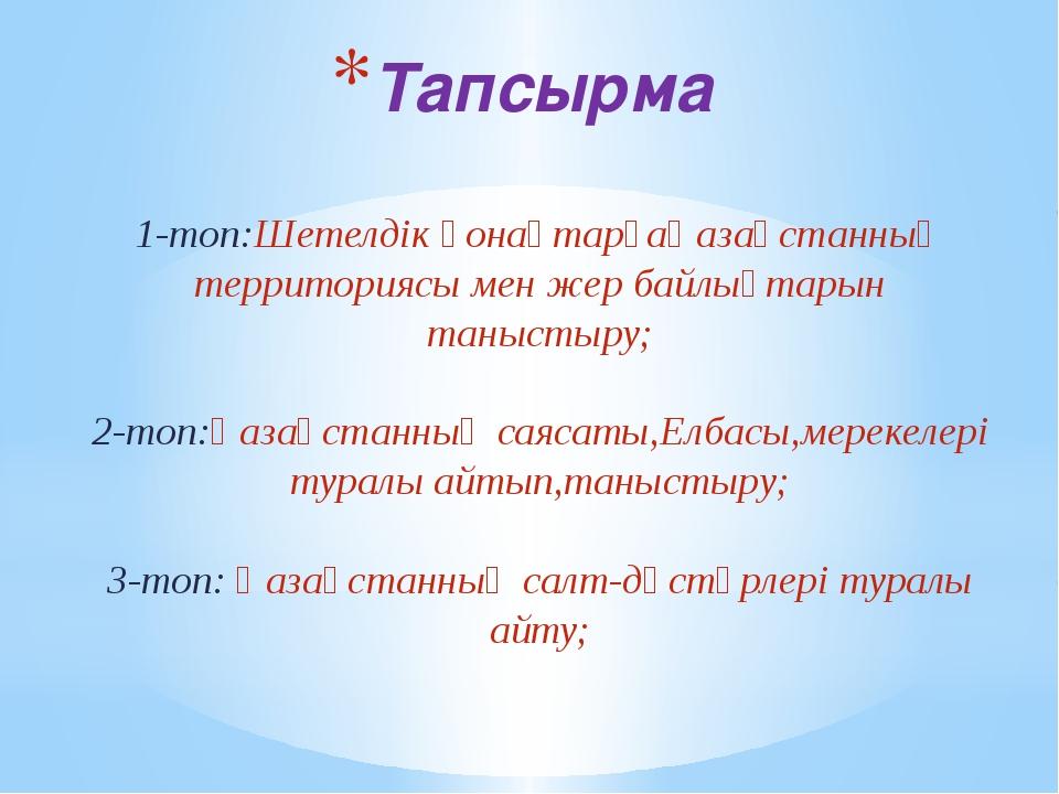 Тапсырма 1-топ:Шетелдік қонақтарғаҚазақстанның территориясы мен жер байлықтар...