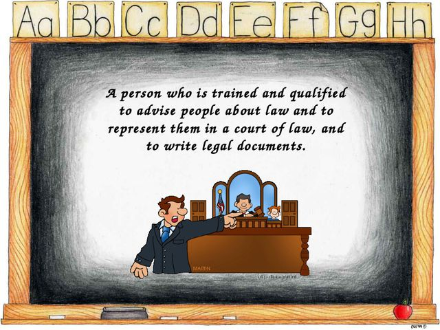 A person who is trained and qualified to advise people about law and to repre...