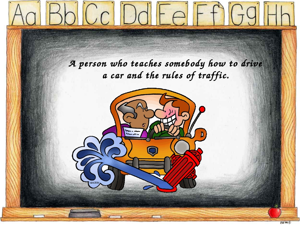 A person who teaches somebody how to drive a car and the rules of traffic.
