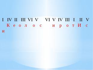 I  IV II  III VI V  VI V IV III  I  II  V К  е  о  л о с
