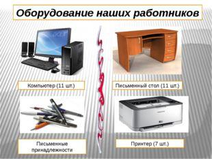 Оборудование наших работников Компьютер (11 шт.) Письменный стол (11 шт.) Пис