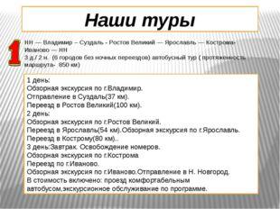 Наши туры НН — Владимир – Суздаль - Ростов Великий — Ярославль — Кострома-Ива