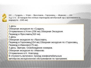 НН — Суздаль — Углич – Ярославль - Гороховец — Иваново — НН 3 д./ 2 н. (6 гор