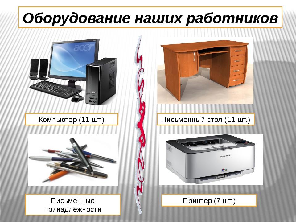 Оборудование наших работников Компьютер (11 шт.) Письменный стол (11 шт.) Пис...