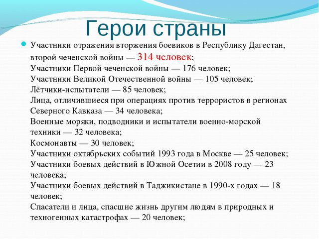 Герои страны Участники отражения вторжения боевиков в Республику Дагестан, вт...