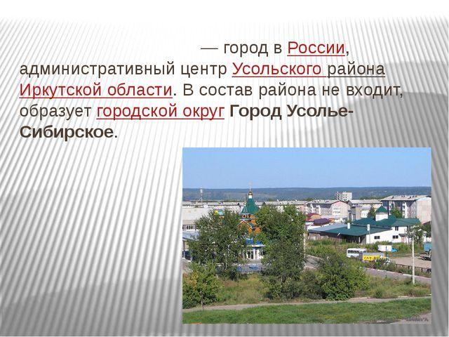 Усо́лье-Сиби́рское — город вРоссии, административный центр Усольского района...