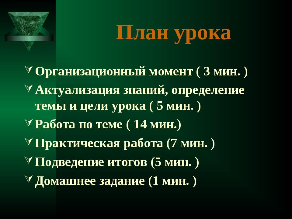 Организационный момент ( 3 мин. ) Актуализация знаний, определение темы и цел...