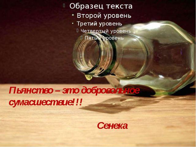 Пьянство – это добровольное сумасшествие!!! Сенека