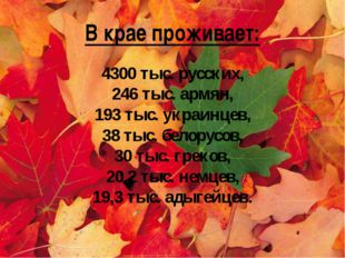В крае проживает: 4300 тыс. русских, 246 тыс. армян, 193 тыс. украинцев, 38 т