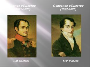 Южное общество (1821-1825) П.И. Пестель Северное общество (1822-1825) К.Ф. Ры