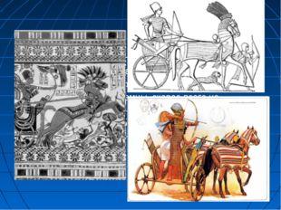 Колесничное войско в Новом Царстве составляло главную ударную силу египтян. Н