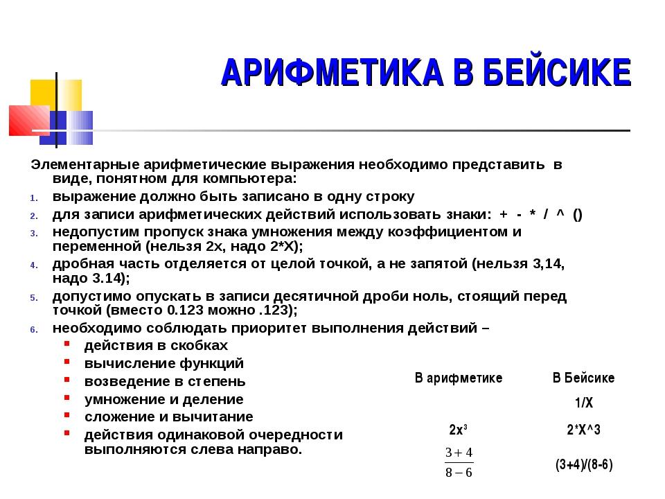 АРИФМЕТИКА В БЕЙСИКЕ Элементарные арифметические выражения необходимо предста...