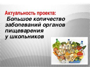 Актуальность проекта: Большое количество заболеваний органов пищеварения у шк