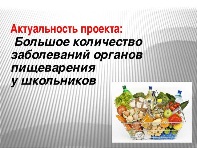 Актуальность проекта: Большое количество заболеваний органов пищеварения у шк...