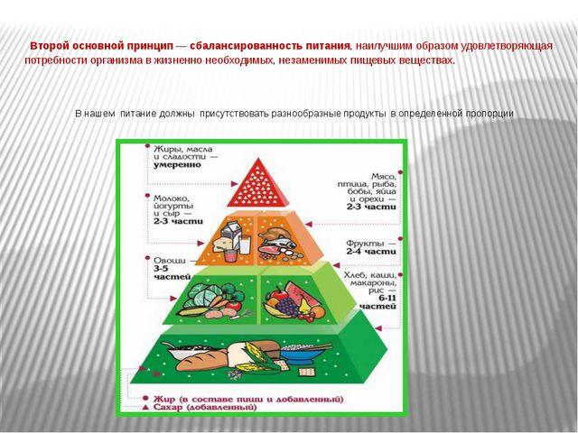Второй основной принцип — сбалансированность питания, наилучшим образом удов...