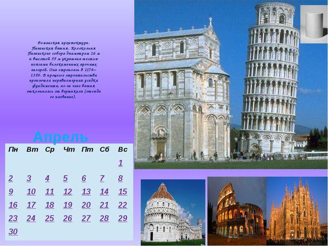 Романская архитектура. Пизанская башня. Колокольня Пизанского собора диаметро...