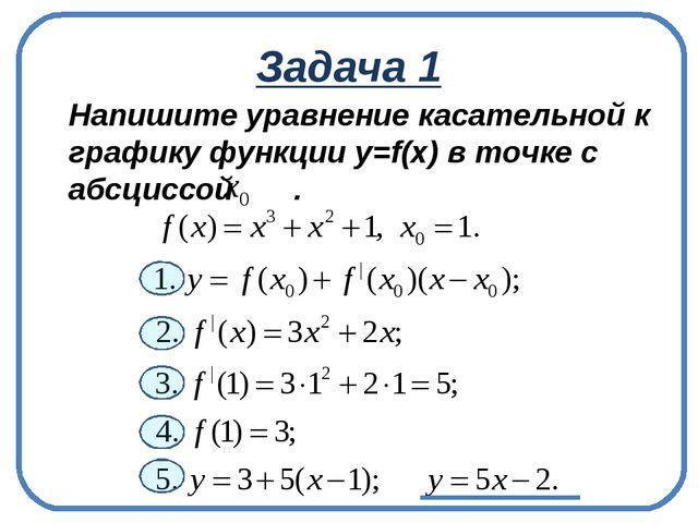 Задача 1 Напишите уравнение касательной к графику функции у=f(x) в точке с а...