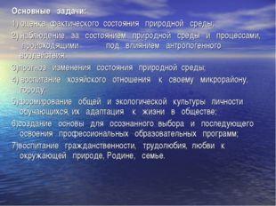 Основные задачи: 1) оценка фактического состояния природной среды; 2) наблюд